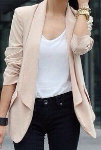 #black pants with white #tshirt and a beige #blaser