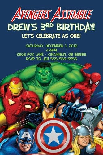 Avengers Assemble Custom Designed Birthday Invitation Photo Or No Phot