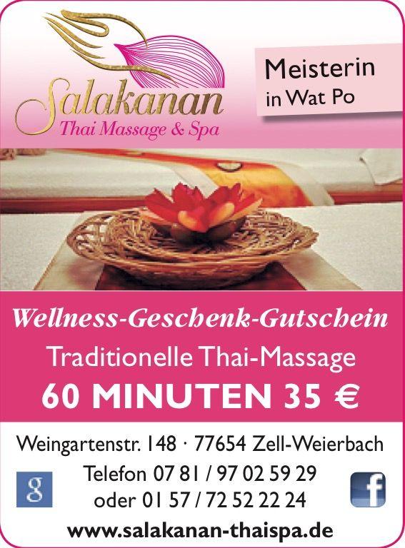 Wellness-Geschenk-Gutschien von Salakanan Thai Massage & Spa Offenburg Zell-Weierbach #salakananthaioffenburg #thai #massage #thaimassage #wellness #spa #offenburg #ortenau #schwarzwald #germany