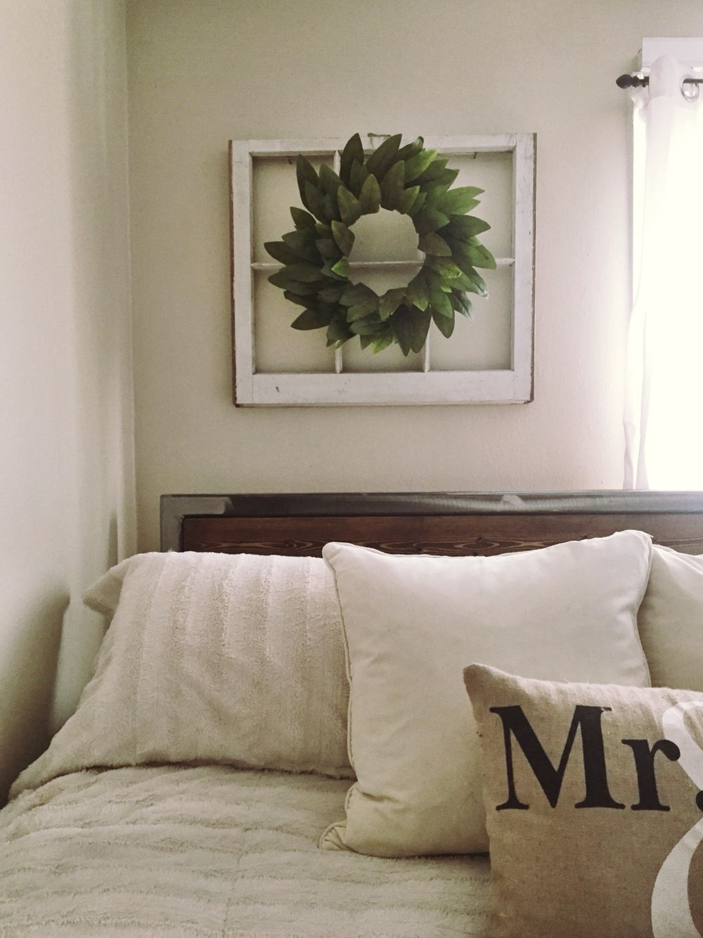 Diy Greenery Wreath On An Old Window Frame