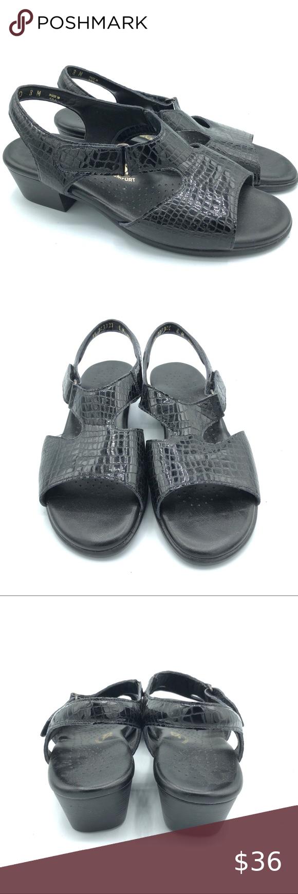 SAS croc Tripad Comfort slingback Sandals A0137 SAS  croc black leather Tripad Comfort slingback Sandals A0137 Size: 8 M Gently used condition SAS Shoes Sandals