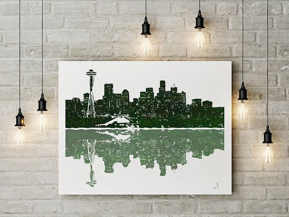 Seattle Wall Art seattle washington, cityscape watercolor painting, seattle art