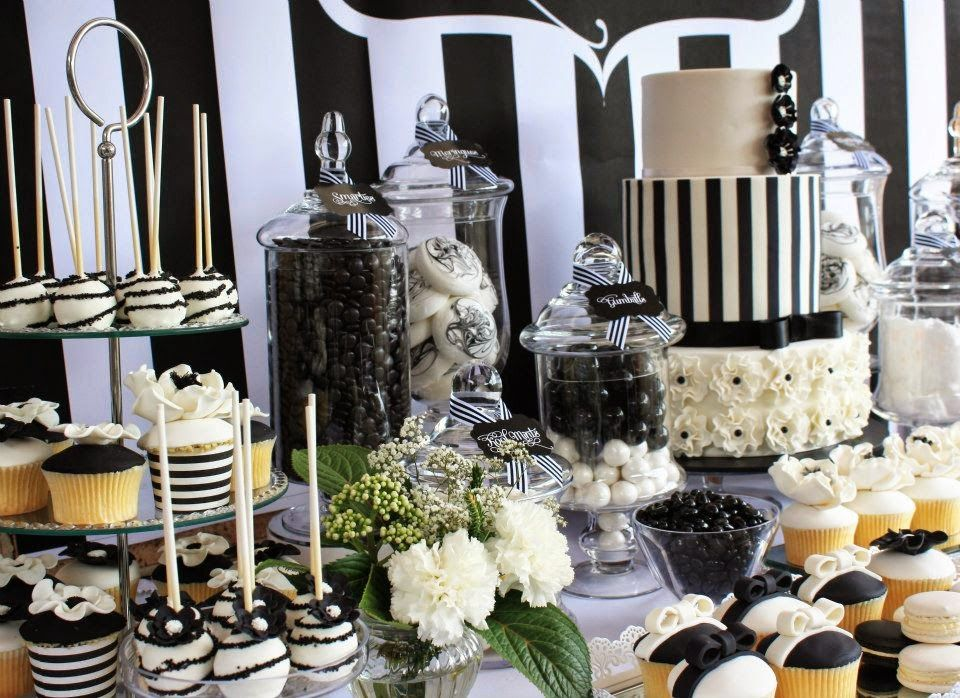 Ideas And Inspiration For Your Black And White Wedding Black And White Dessert Buffet Dessert Table White Dessert Tables White Candy Table White Candy Bars