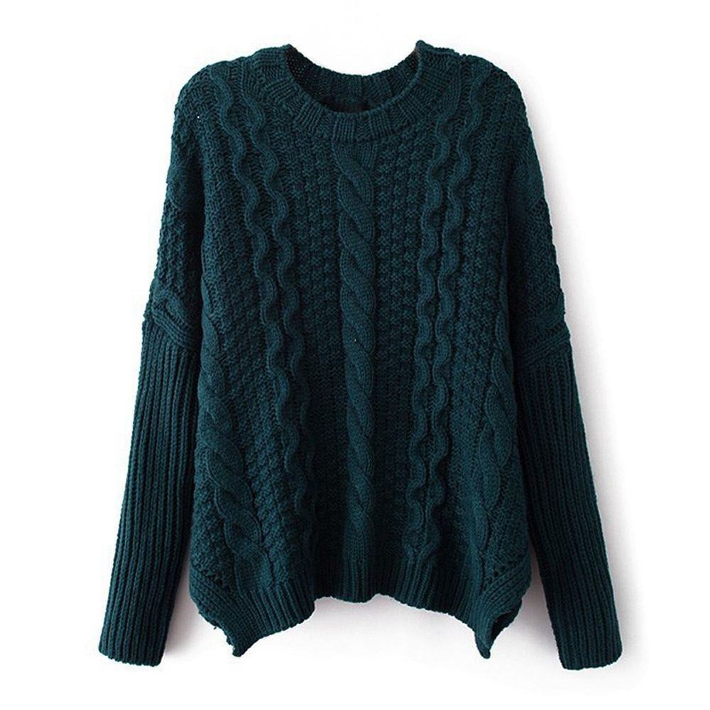 Women's Classic Cable Knit Batwing Sleeve Pullover Sweater ...