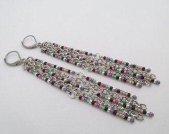 Perle graine Dangle Earrings-Bronze/saumon/crème