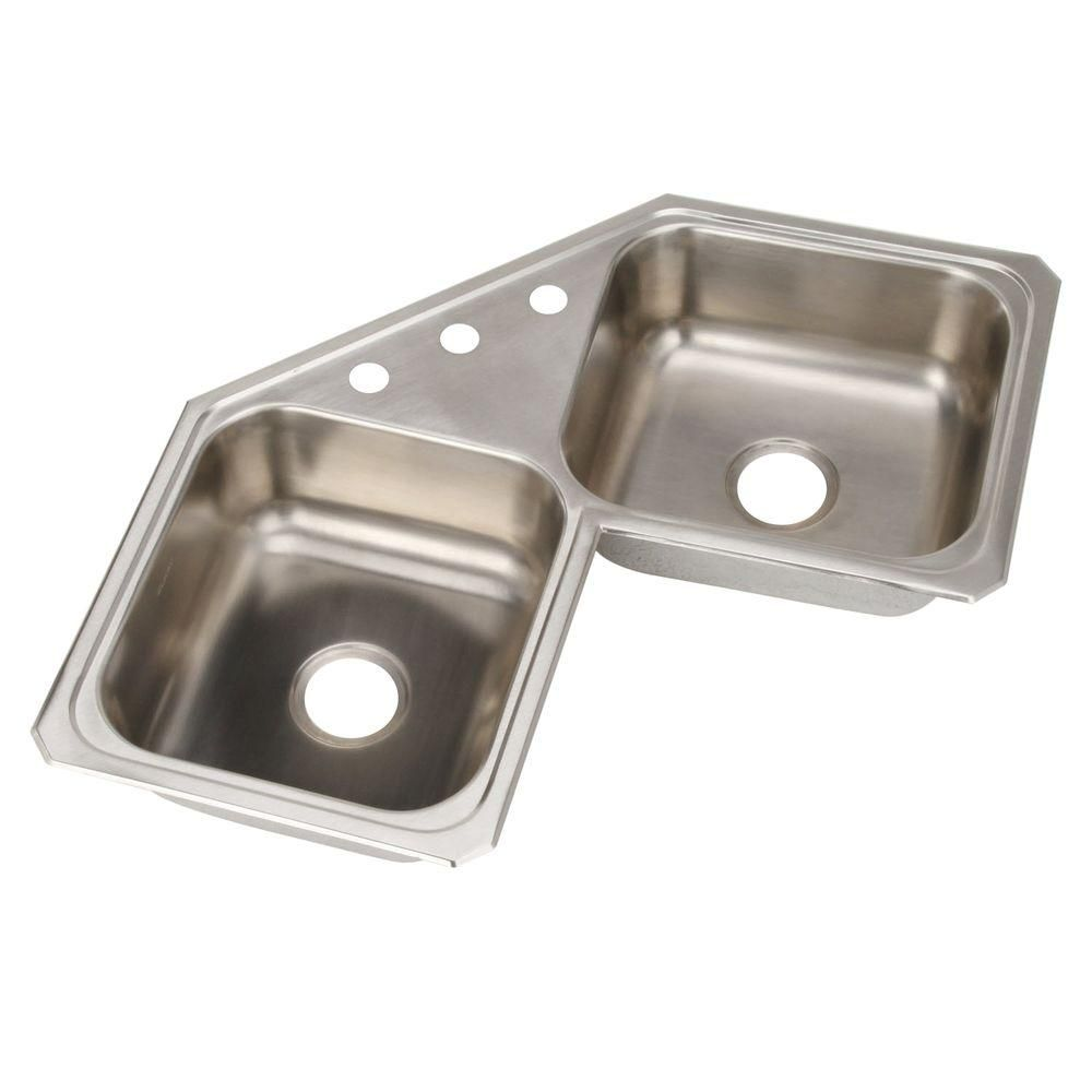 Elkay Celebrity Corner Drop In Stainless Steel 32 In 3 Hole Double Bowl Kitchen Sink Ccr32323 The Home Depot Double Bowl Kitchen Sink Double Basin Kitchen Sink Drop In Kitchen Sink