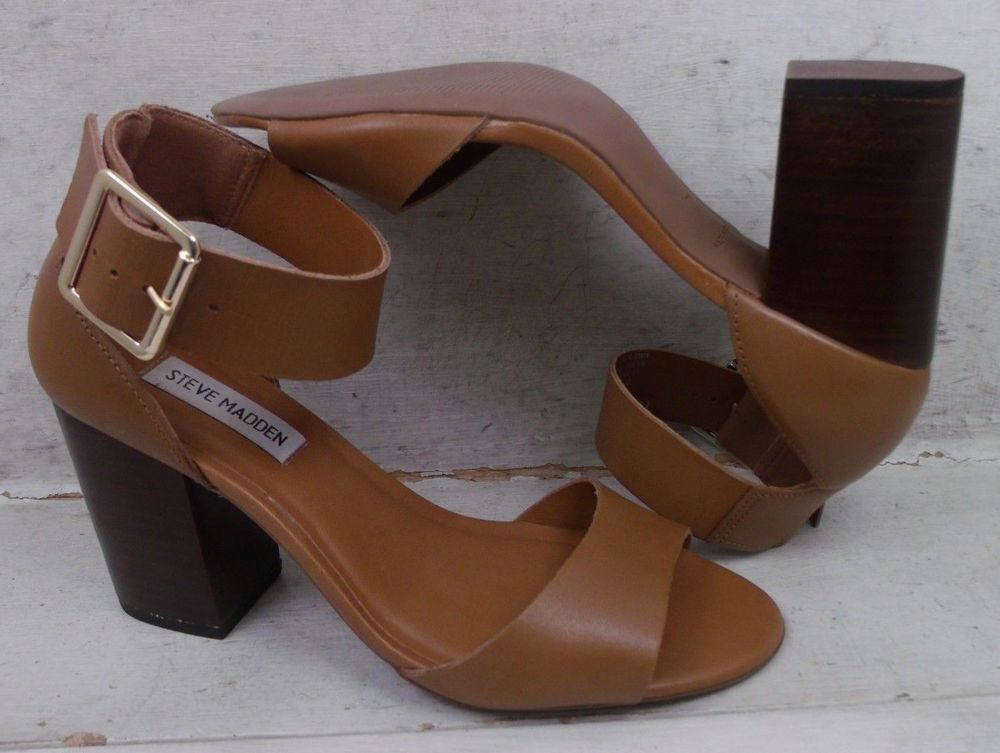 5bb495a8cdd Steve Madden Womens Estoria Tan Smooth Leather Heels Sandals Shoes size 7 M