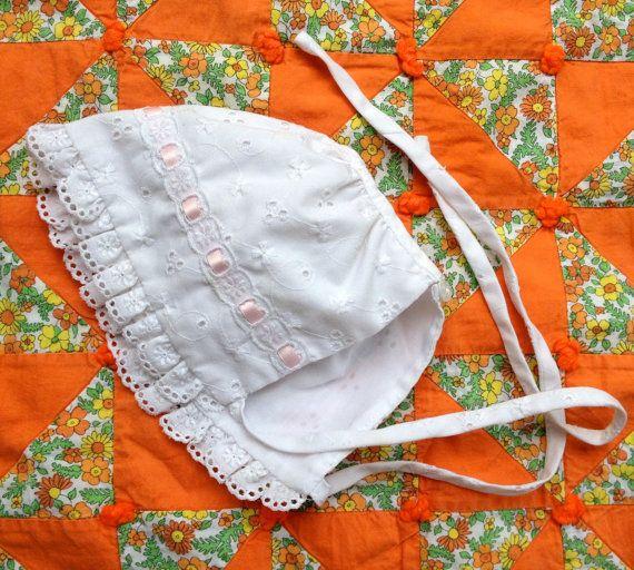 Eyelet Lace Bonnet 0-3 Months by lishyloo on Etsy