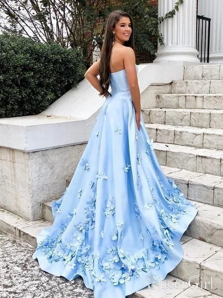 Sweetheart Sky Blue Long Prom Dresses with 3D Floral Applique #bluepromdresses