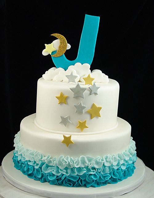 Teal Moon Stars And Ruffle Cake Our Childrens Cakes Pinterest