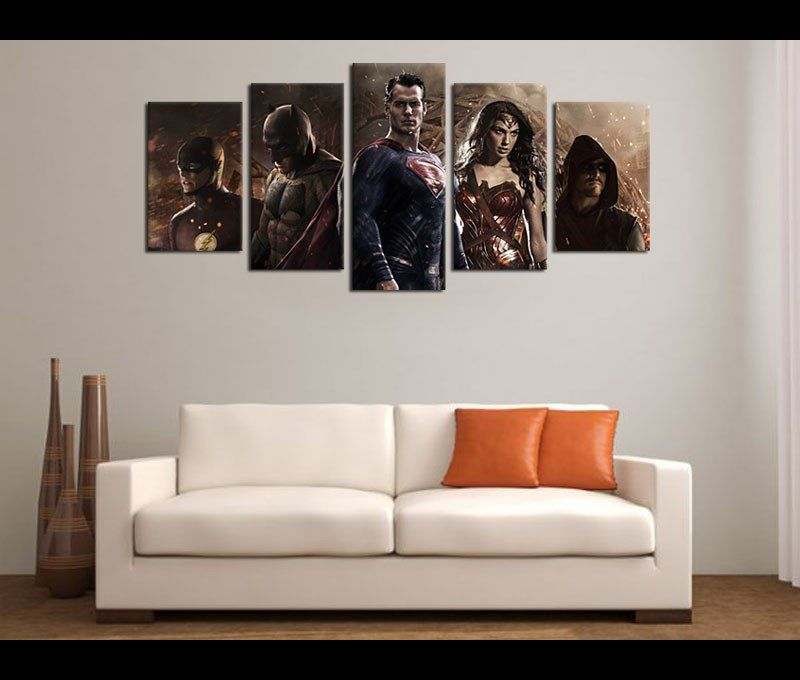 5 pieces large framed canvas art justice league batman superman movie canvas prints poster artwork for wall art decor in bedroom living room home