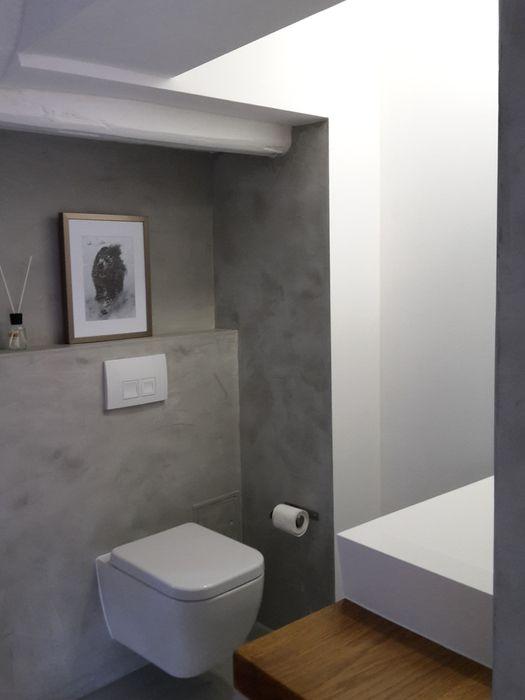 fugenlose Design Böden. Fugenloser Putz im Bad. Beton Cire Dusche ...