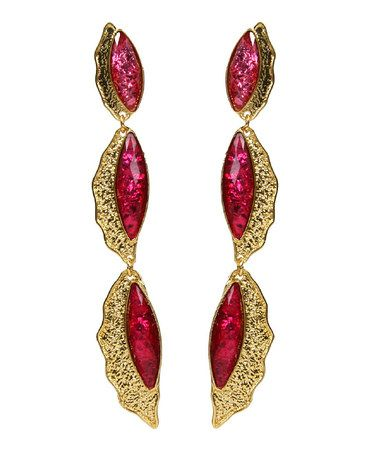 Take a look at this Ruby & Gold Camella Shells Drop Earrings by Amrita Singh on #zulily today!