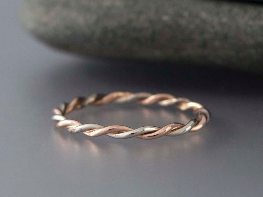 Two Tone Gold Twist Ring In Solid 14k Rose By Lichenandlychee 150 00