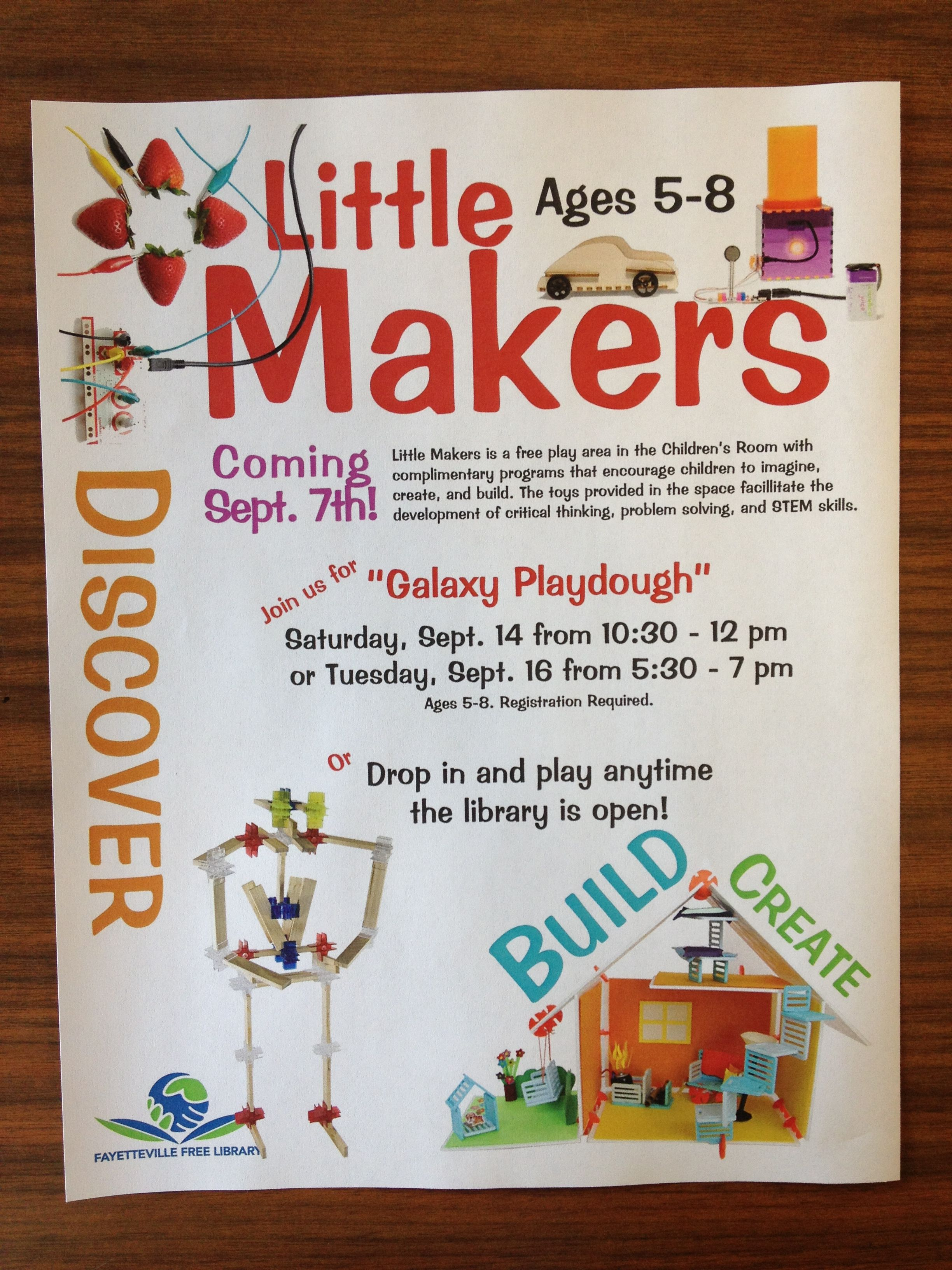 Promotional Flyer Little Makers. Tinkering Club Library Programs Programming
