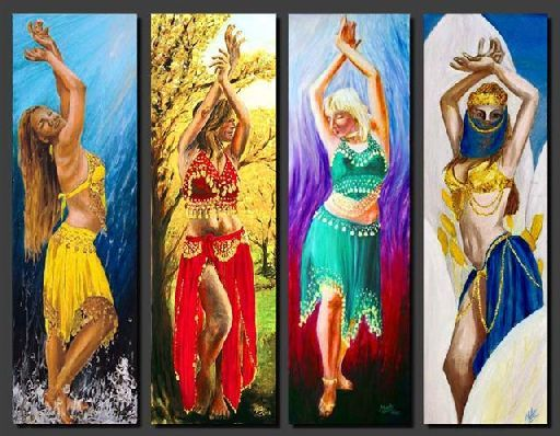 elements of water costumes |     dancers depicting the 4