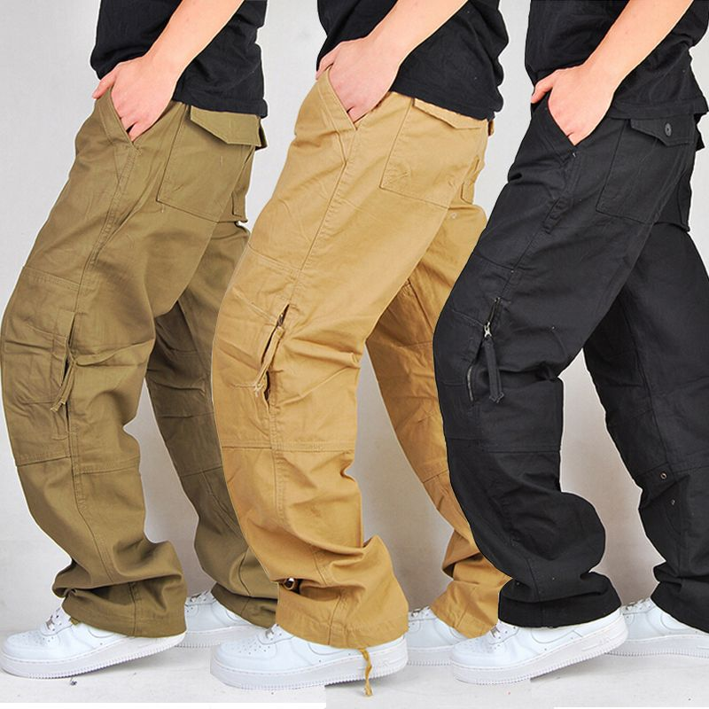 100% Cotton Durable Khaki Black Military Trousers Loose Baggy Cargo Pants  Men Swag Hip Hop