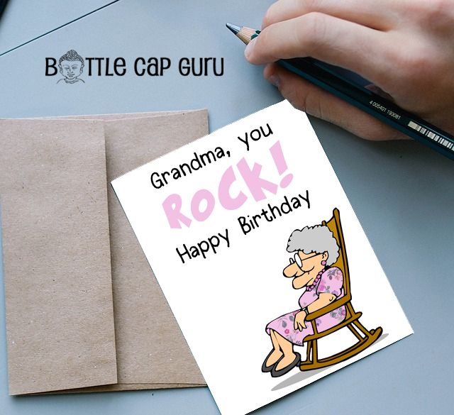 Grandma You Rock Happy Birthday Funny Printable Card For Grandmothers Greeting Nana Instant Download