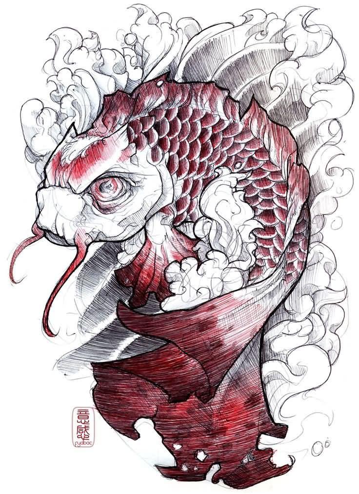 21 Koi Fish Tattoo Designs Ideas: Amazing Koi Fish Tattoo Stencil By Fydbac