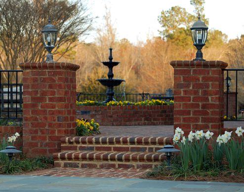 privacy fencing with brick and iron | Landscape |Landscape Design Ideas |  Blythewood, Irmo, Lexington, SC - Privacy Fencing With Brick And Iron Landscape |Landscape Design