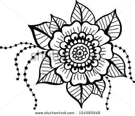 Black Flower Pattern Cicek Cizim Illustrasyon
