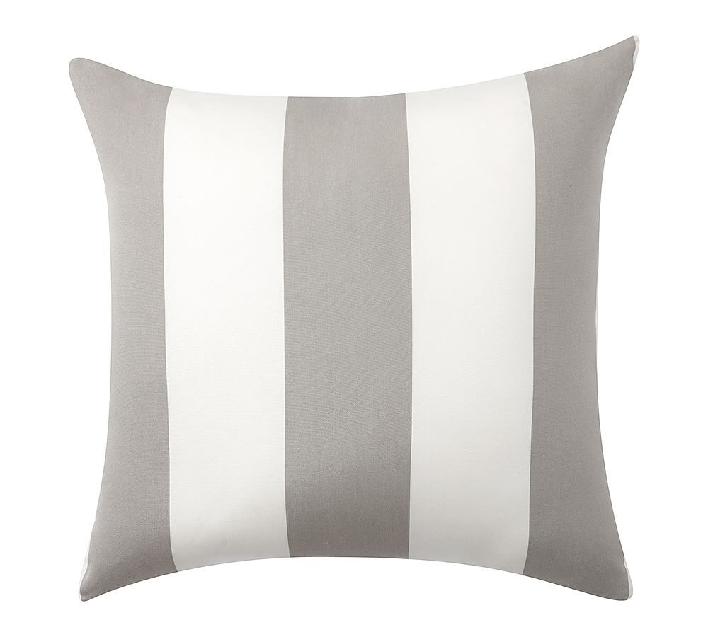Sunbrella R Awning Stripe Outdoor Pillow 18 Sq Gray At Pottery