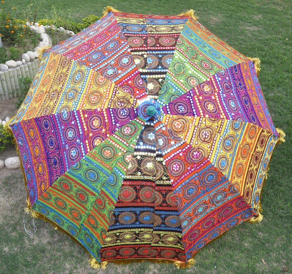 Indian Garden Parasol Sunshade Embroidered Patio Decor Large Umbrella 52