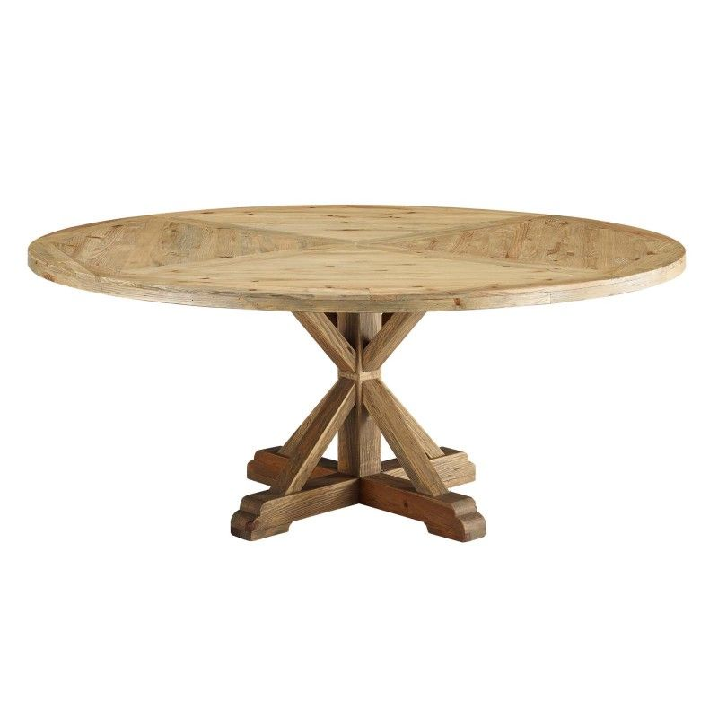 Stitch 71 Round Pine Wood Dining Table Brown With Images