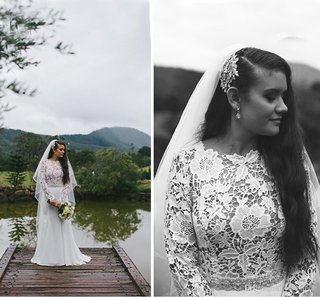 Fashionable Plus Size Western Style Wedding Dresses from Eiffelbride with Shining Beads Sash And Sexy Sheer Lace Long Sleeve Bridal Gowns, $149.74   DHgate.com
