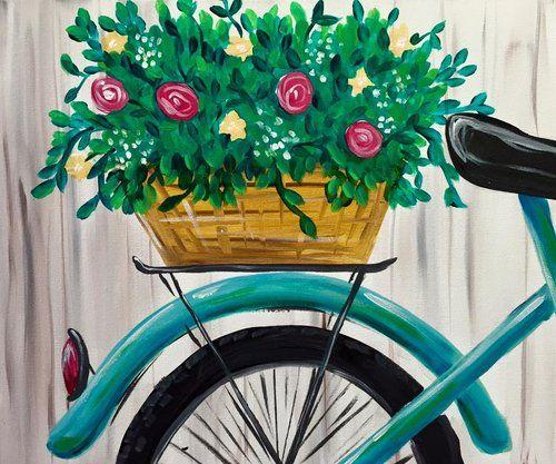 Flower Basket Teal Bicycle Beginner Painting Springtime Cruise