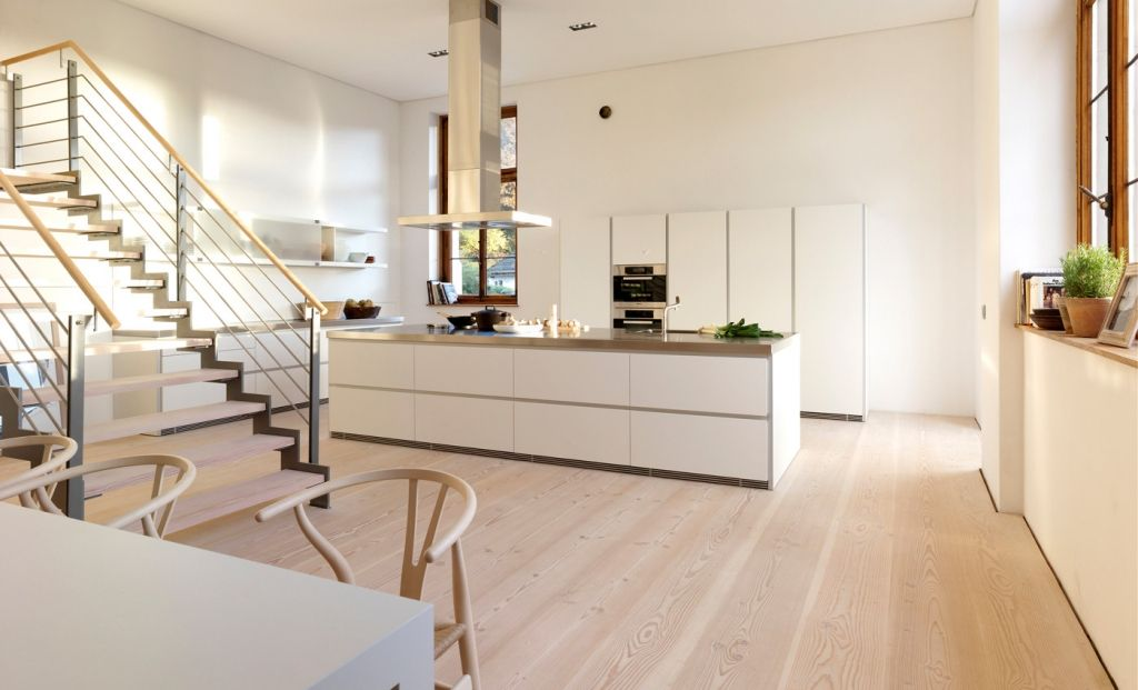 Offene Küche mit Dinesen Douglasie Dielenboden Küchen - bilder offene küche
