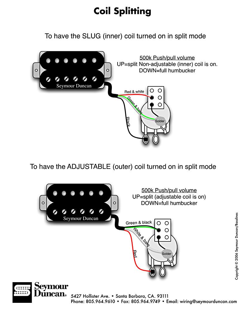 wiring diagram for splitting the humbucker into a single coil rh pinterest com DiMarzio Pickup Wiring Diagram 2 Humbucker Wiring Diagrams