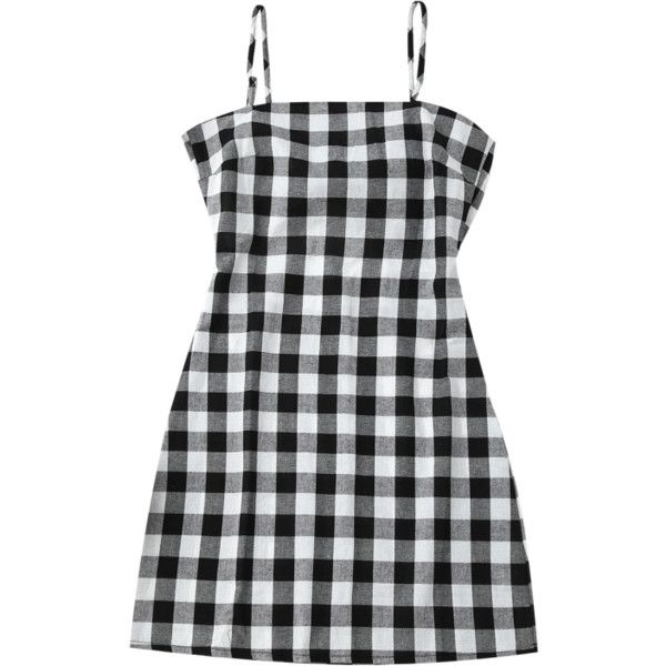 918f8a24e15 Slip Tie Back Plaid Dress Black White (165 ZAR) ❤ liked on Polyvore  featuring dresses