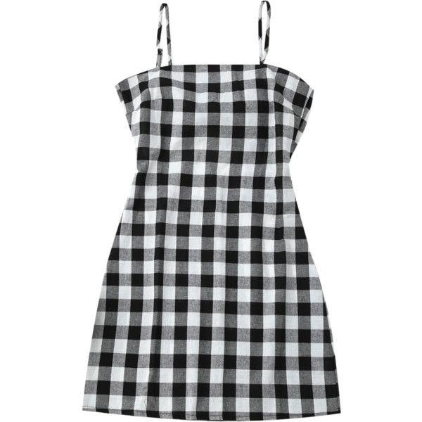 6010b4ebd51 Slip Tie Back Plaid Dress Black White (835 INR) ❤ liked on Polyvore  featuring dresses