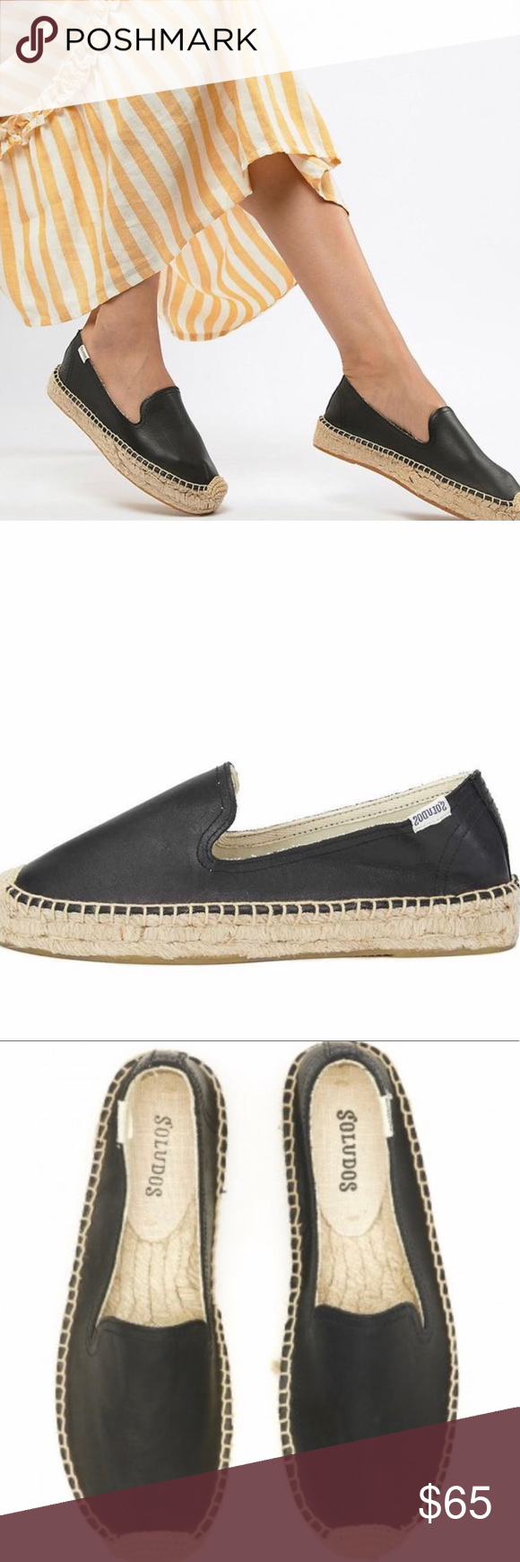3108b9dce EUC Soludos Black Leather Espadrilles Size 7 Excellent Used Condition  Soludos Black Leather Espadrilles Size 7 Excellent shape, shows minimal  signs of wear ...