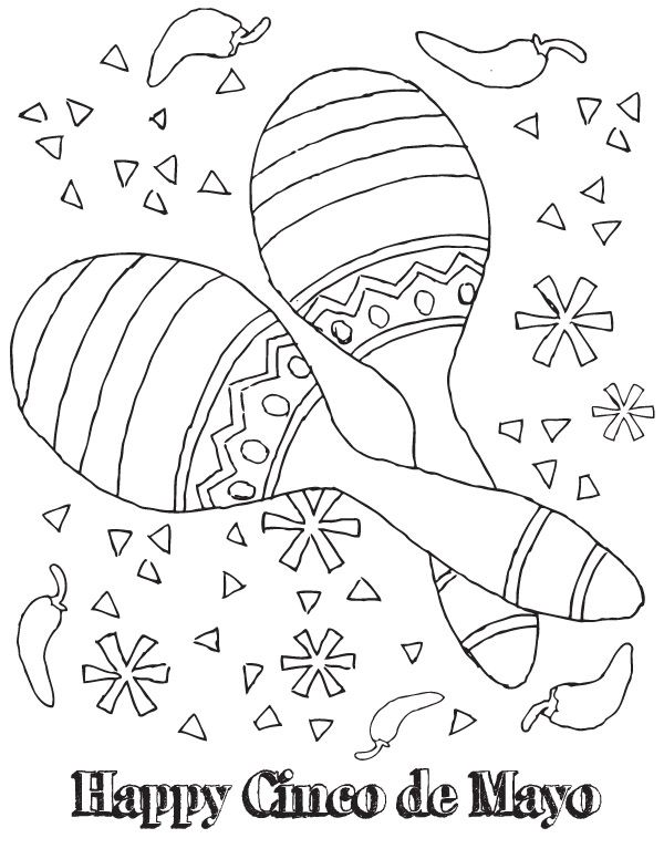 Cinco De Mayo Coloring Activities 2 Jpg 600 776 Pixels Cinco De