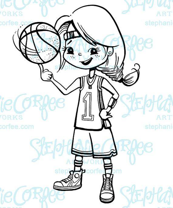Basketball Girl B W Digital Stamp Clip Art In 2020 Digital Stamps Clip Art Art