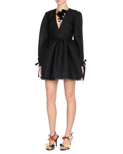 B3v8l Fendi Long Sleeve Jacquard Tail Dress W Mink Fur Flowers Black