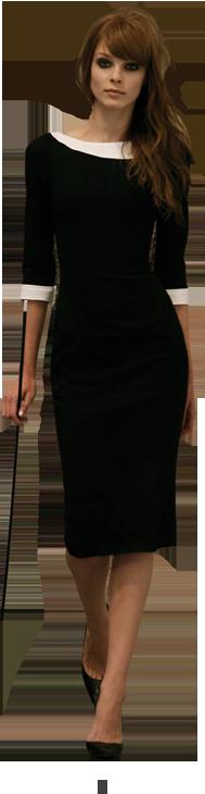 Vestido negro con cuello y punos blancos