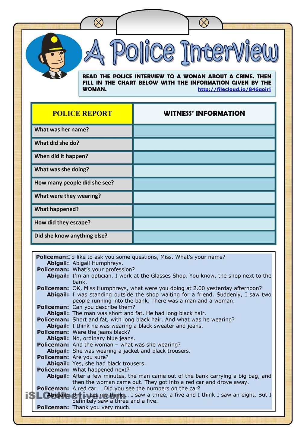 A Police Interview - PAST CONTINUOUS - Worksheet | Learn English for ...
