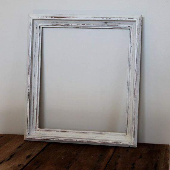 Large Distressed Frame White Vintage Milk Paint Wood Wooden Picture ...
