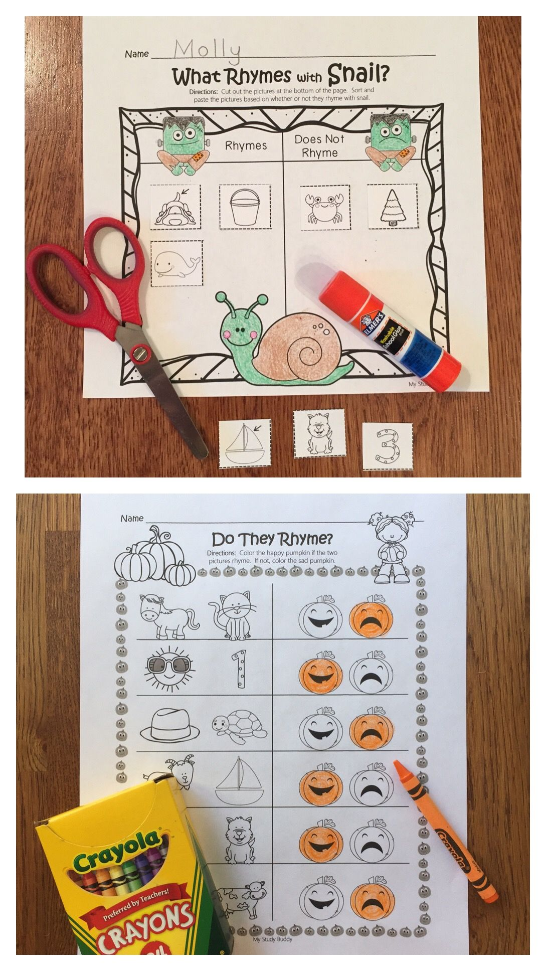 Halloween Rhyming Worksheets Halloween Activities For