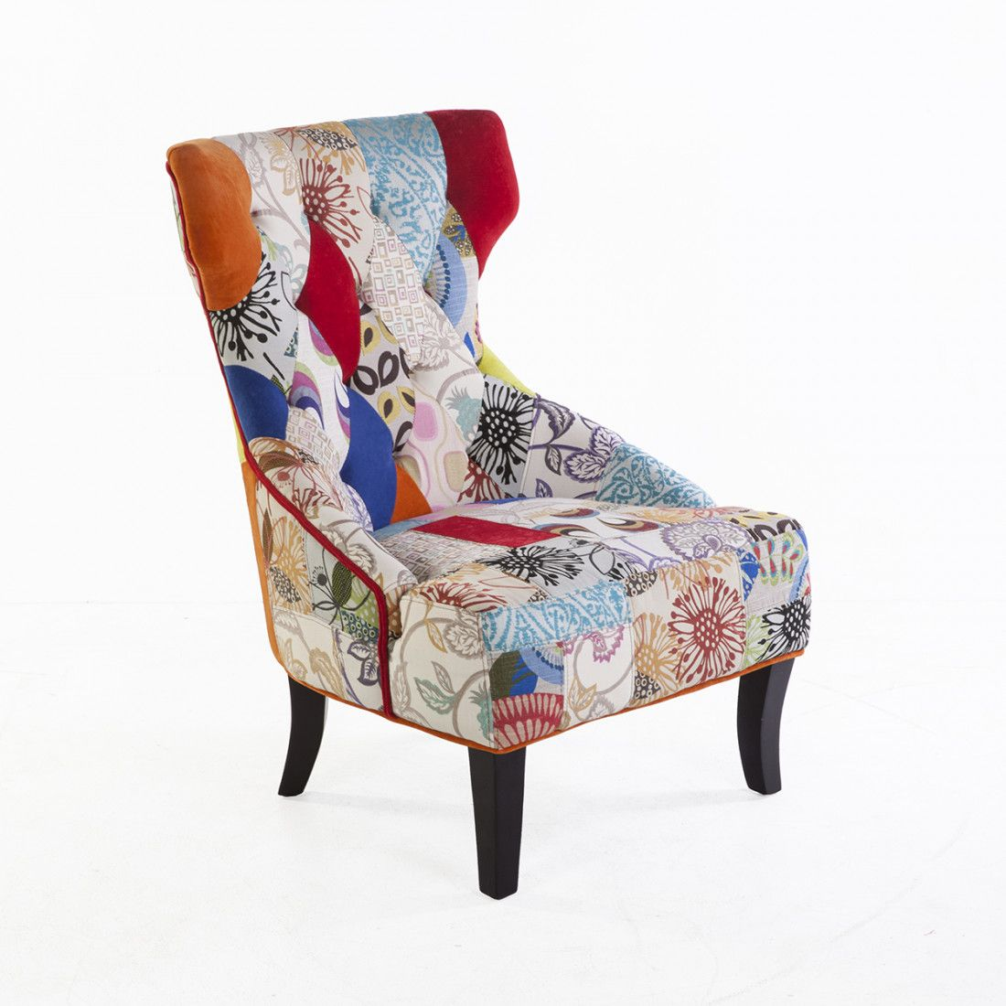 Mid century modern irre patchwork wing lounge chair