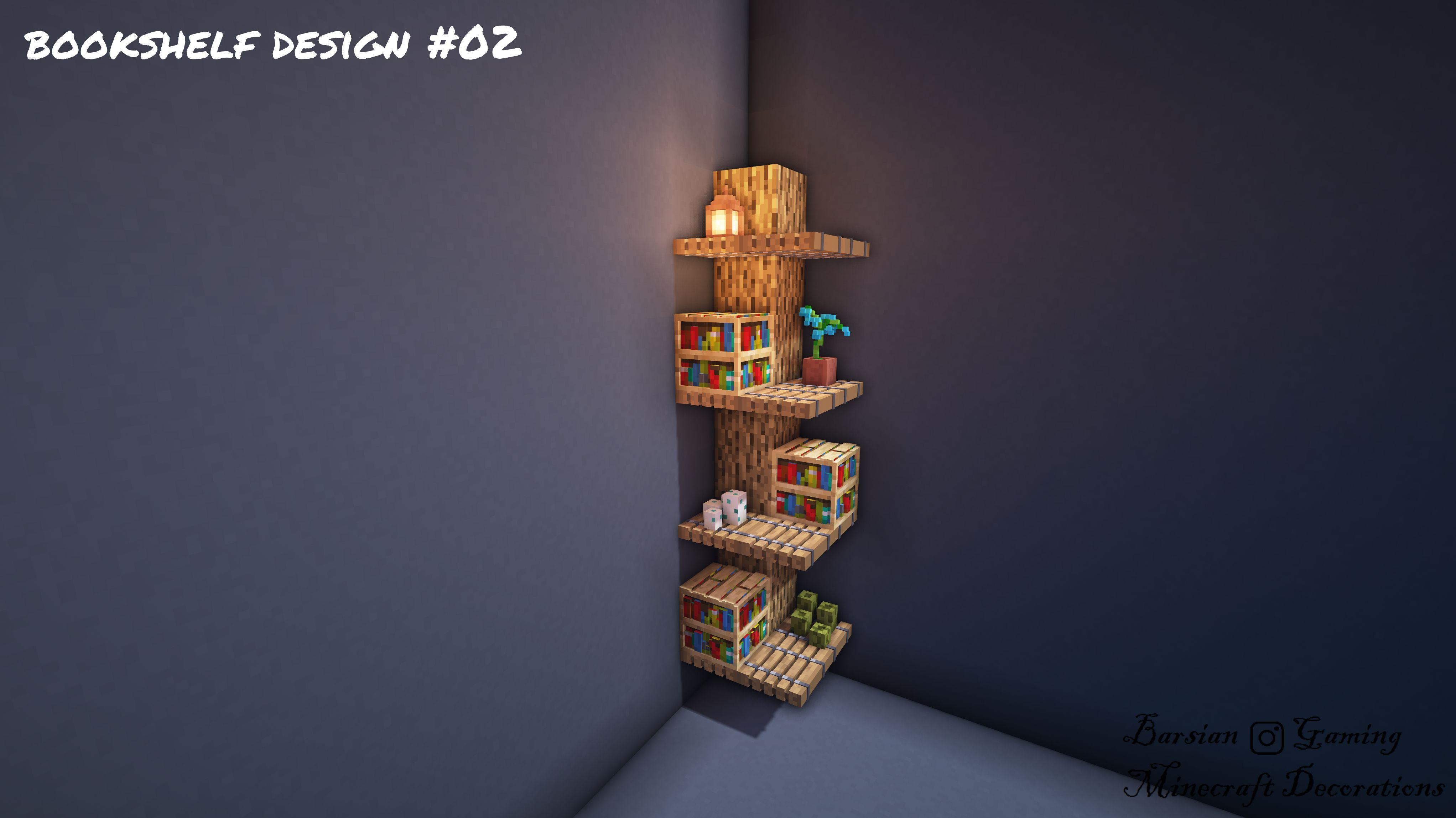 Bookshelf Design 02 In 2020 Minecraft Designs Minecraft Blueprints Minecraft Crafts