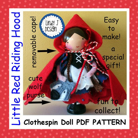 Noel Christmas Carolers Decoration Felt Clothes Big By: Little Red Riding Hood CLOTHESPIN Doll PDF Pattern Fits In