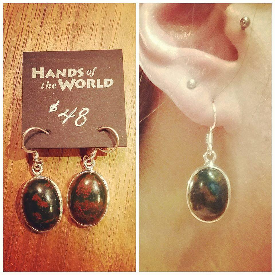 Bloodstone earrings, made in India. $48.