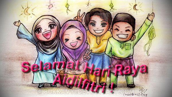 Selamat Hari Raya Aidilfitri By Bukkavyi On Deviantart Selamat Hari Raya Girls Cartoon Art Eid Card Designs