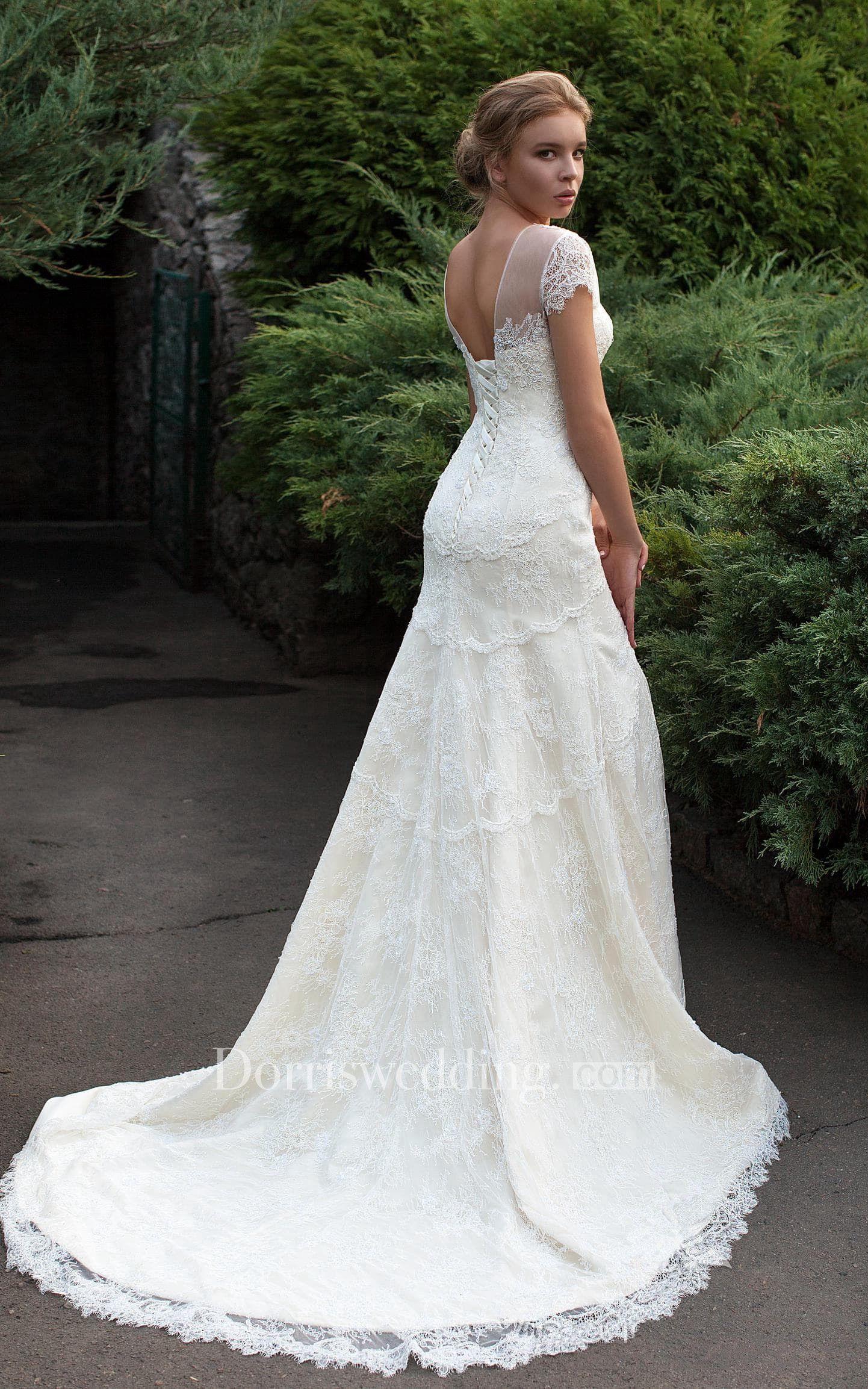 Sheath floorlength jewel capsleeve lowvback lace dress with