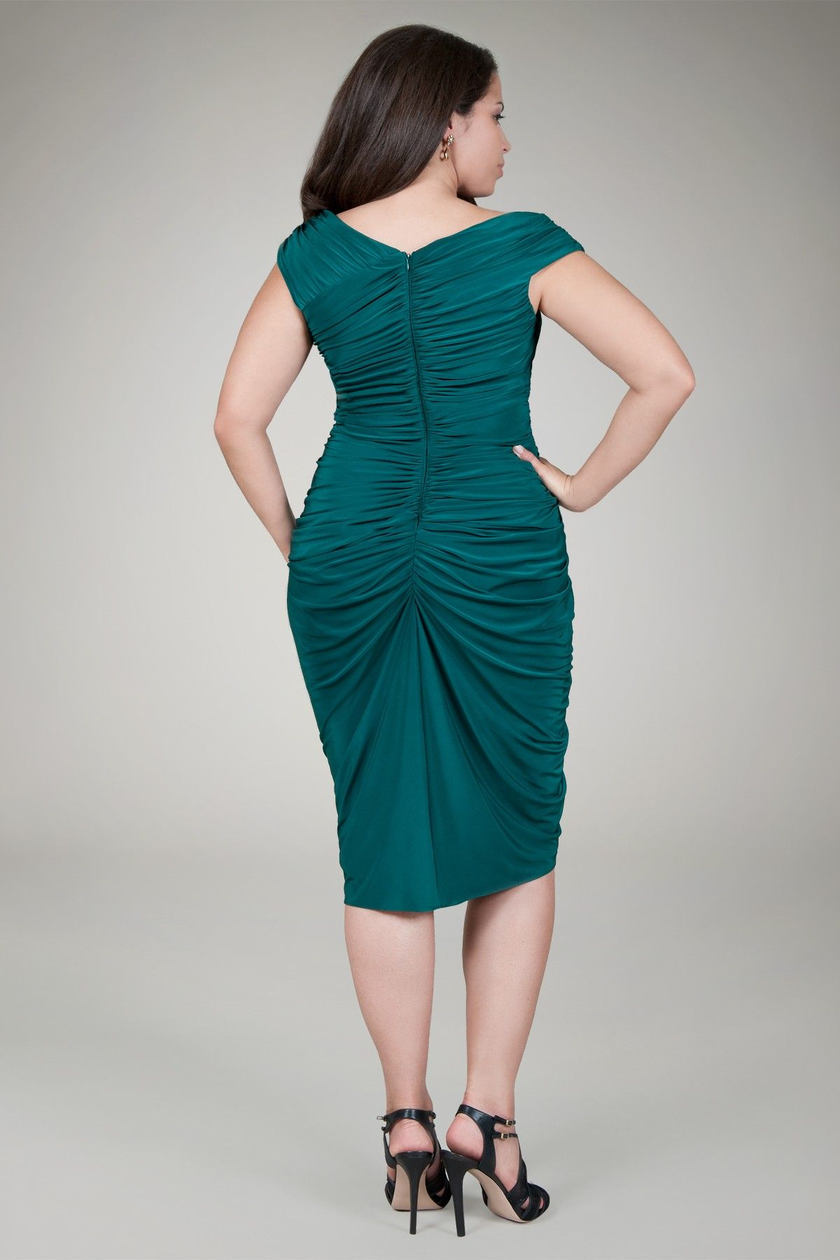 Draped jersey cocktail dress in pine back plus size