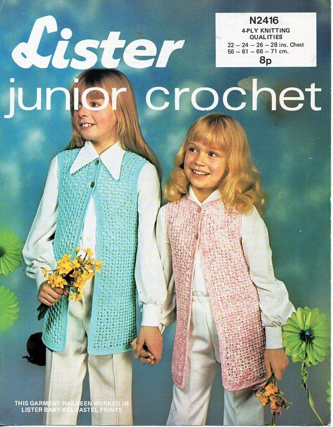 Girls crochet waistcoat pattern crochet pattern pdf 4ply vest ...